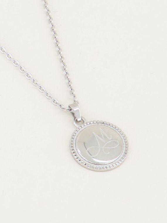 ketting initial munt zilver.