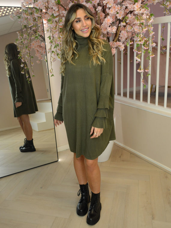 Triple Layer Sleeve Coll Dress – Olive Green