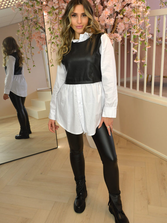 Leather Detail Blouse – White