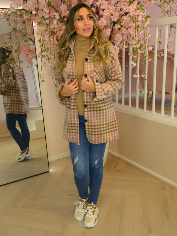 Checkered Button Blouse – Brown/Pink