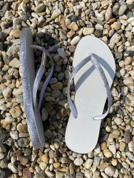 Havaianas – Slim Sparkle Silver (glitter zool en band)